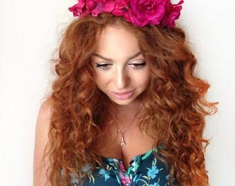 Fuchsia Flower Crown, Flower Headband, Floral Headband, Floral Crown, Wedding Flower Headband, Floral Wedding Headband, Hair Piece