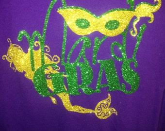 Mardi Gras Mermaid Long Sleeve Shirt. Purple