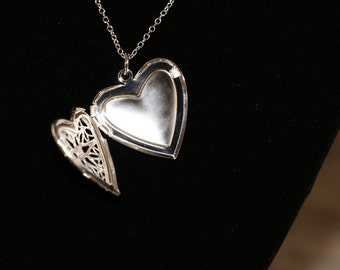 "Sterling Silver Heart Shaped pattern locket with 925 sterling silver 18"" or 22"" necklace"