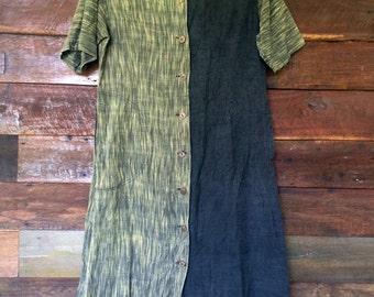 80s Nuno Kobo Dress // Vintage Button-down Dress // Size M/L