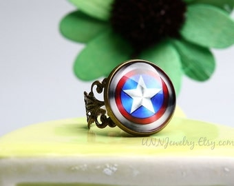 Captain America Rings Womens Vintage Super Hero Statement Ring Adjustable Ring Girl Kid Novelty Ring Wedding Bridesmaid jewelry gift for her