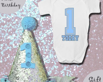 Baby BOYS FIRST BIRTHDAY Gift Set - Baby Grow With Matching Hat