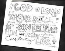 Bible Verse Coloring Page, John 3:16, Printable 8.5x11, Printable Coloring Page