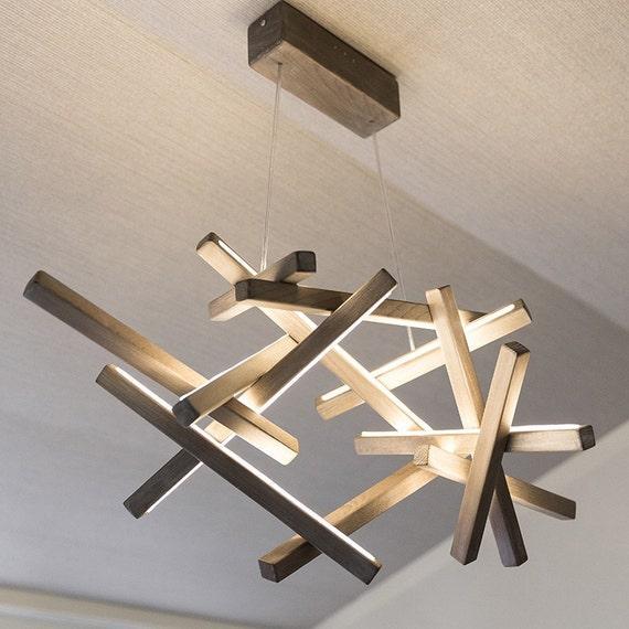 Led Wood Chandelier Led Lamp Wood Lamp By Nextlevelstudio