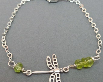 Dragonfly Bracelet / Sterling Silver Bracelet Peridot /Dragonfly Green Stone Bracelet / August Birthstone Bracelet //GE3