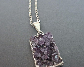 Dark Purple Large Druzy Necklace / Purple Drusy Silver Pendant / Natural Amethyst Druzy Crystal / Sparkly Natural Stone Necklace //GD2