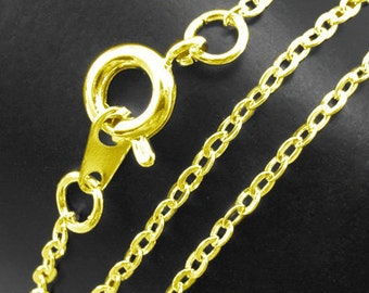 Brass chain necklace, gold or silver