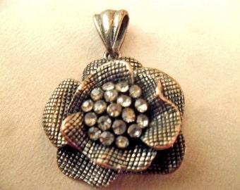 Pendant, Flower necklace, Flower charm necklace,  pendant, antique brass, cute jewelry gift idea