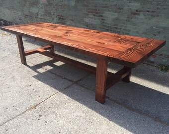 10 foot long harvest table using reclaimed lumber