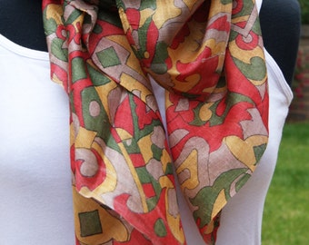 Large Multicolour Square Silk Scarf