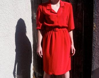 Vintage 1970s Red Belted Dress