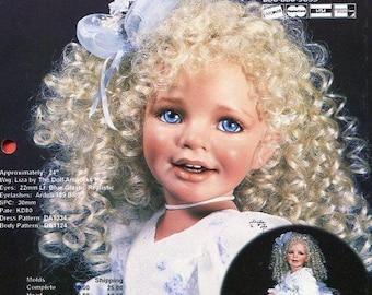 "FREE US SHIP Bell Ceramics Doll Inc Artworks Liza Dress by Donna Rubert 24"" Ruffle Dress Sewing Pattern Old Store Stock Ceramic Mold"