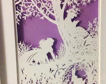 Alice in Wonderland - I'm Late Framed Papercut