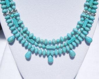Magnesite 3-strand necklace