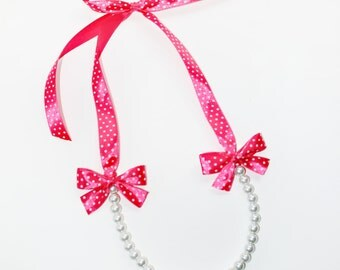 Beautiful Pearl Necklace with Ribbon Ties - Ivory pearls, Pink Polka Dots Ribbon - bridesmaids