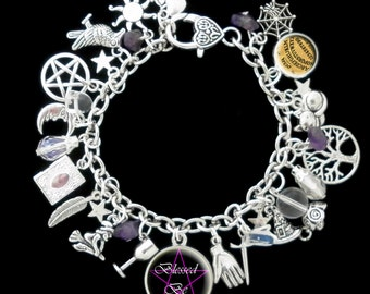 Witch, Wiccan, Wicca, Amethyst, Moonstone, Magic, Magick, Themed Charm Bracelet
