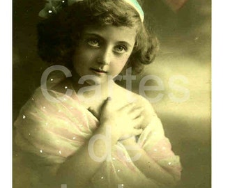 1910 French Postcard - Girl with Heart - Charite Love