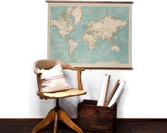 World Map in Bluebeard wall hanging