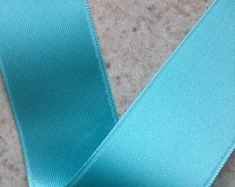 Pool Blue Double Face Satin Ribbon  4 Yards - Choose Your Width