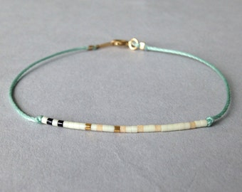 Tiny delicate bracelet / Layering beaded nylon bracelet / Sea foam