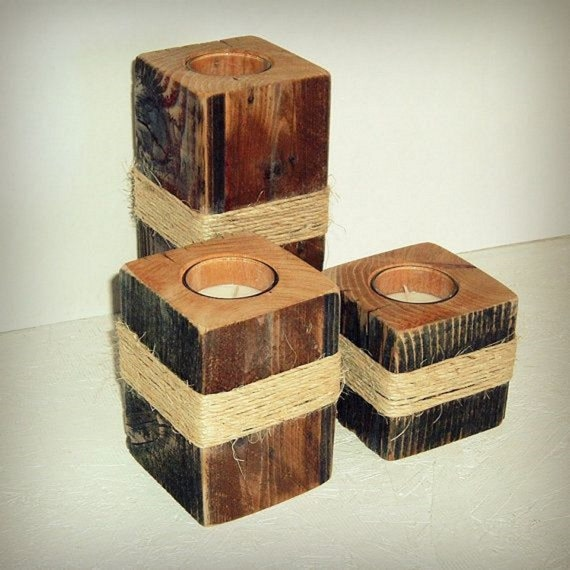 Items similar to reclaimed tealight candle holder on etsy for Rustic wood candle holders