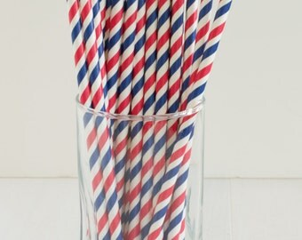 25 Red and Blue Striped Straws- Fourth of July Party, Patriotic Party, Summer Picnic, Labor Day, Flag Day, Patriotic Paper Straws