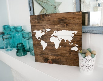 "Wood Map Art, Handmade - Roughly 12"" x 12"""