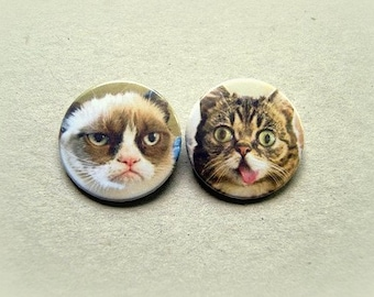 Grumpy cat & Lil Bub  - pinback button or magnet 1.5 Inch