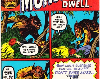 Where Monsters Dwell 23, Horror comic, Halloween book, Scary Jack Kirby art. 1973 Marvel Comics in VF (8.0)