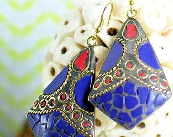 Lapis mosaic earrings,hippie eaarings, turquoise earring, Lapis earrings, coral earrings,boho earrings,nepali earrings