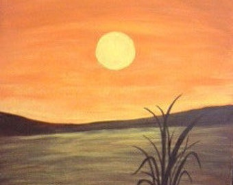 Golden Pond, handmade, acrylic, painting on canvas