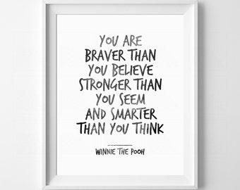 Kids Gift Idea, Kids Wall Art, You Are Stronger Than You Think, Boys Nursery, Girls Nursery, Modern Nursery Decor, Winnie The Pooh quote