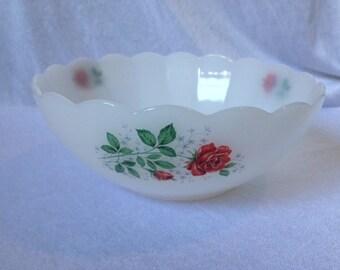 Vintage Arcopal France Bowl Roses