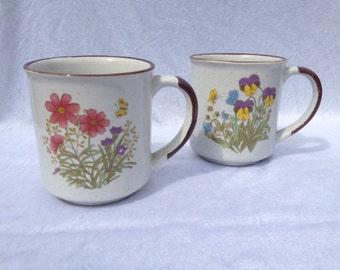 Set Of 2 Vintage Flower Mugs