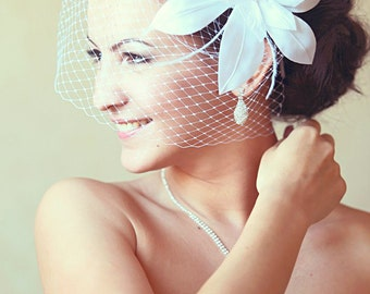 Birdcage Veil Wedding Hairstyles Wedding Fascinator Bridal hair  Bridal Headpiece Hair updos White fascinator Bridal Hairstyles