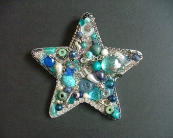 Blue and Silver Star, Jewellery Collage, Handmade Gift