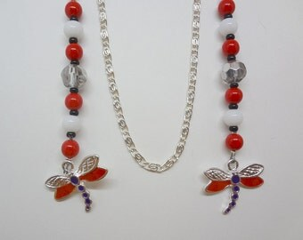 Dragonfly Charms Beaded Bookmark Book Thong