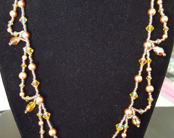 Rose Gold Pearl and Crystal Necklace