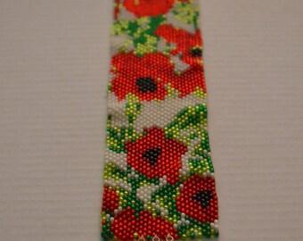 Poppy flower pattern, peyote beading handmade bracelet