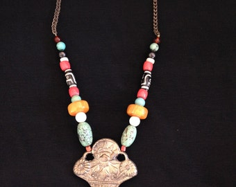 Vintage Silver and bead necklace with floral lotus pendant
