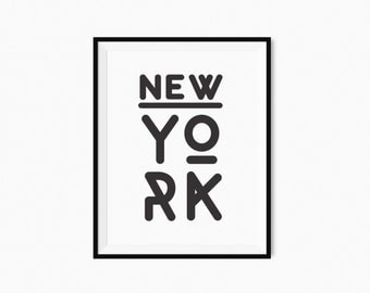 New York Typography Art Printable Poster Large 34''x44'' Black White Minimalist Print Modern Wall Art Instant Download