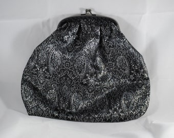 Luxurious Black and Silver Brocade Clutch Purse With Frame With Snap Clasp