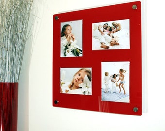 red black white or clear gloss 18x19 magnetic acrylic wall mount multi photopicture frame for 4x 5x7 photos