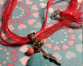 Red Ribbon, Turquoise, Bird Necklace