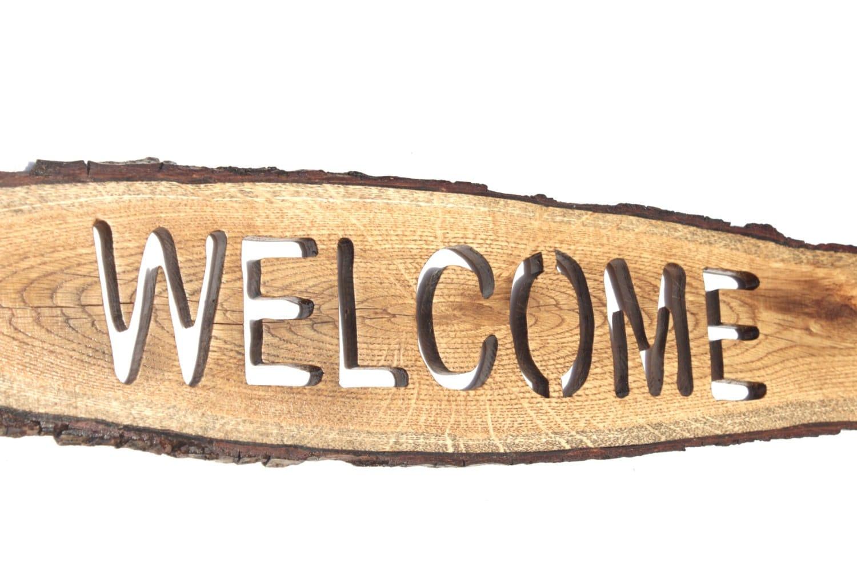 Oak Wood Signs ~ Welcome sign on oak slice wooden plank board wood