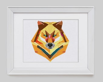 Wolf cross stitch pattern, wolf modern cross stitch pattern, wolf counted cross stitch pattern, wolf cross stitch pdf pattern download
