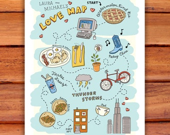 Custom Illustrated Love Map - Wall Art - 11x14 or 16x20 - Personalized - Wedding Anniversary New Baby
