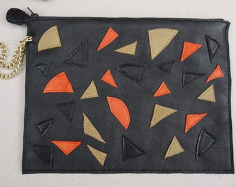 Pouch with strap black leather and multicolored wall woman