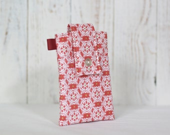 Fabric Cell Phone Case / Smartphone Holder / iPhone case / Galaxy case with cell phone pouch and front pocket- Coral/Pink Pattern