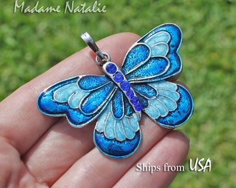 Blue Butterfly Pendant, Blue Rhinestone and Enamel Butterfly Pendant, Pendant for Long Chain Sweater Necklace, Butterfly in Shades of Blue